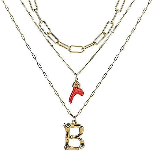 Yiffshunl Collar Mujer Collar Inicial Oro bambú Letras Iniciales Nombre Collares Coral Rojo Colgante Cadena de eslabones para Mujeres Regalo de cumpleaños