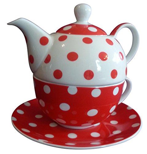 Tea for One points rouge blanc Théière Porcelaine Kit + Extra Torchon