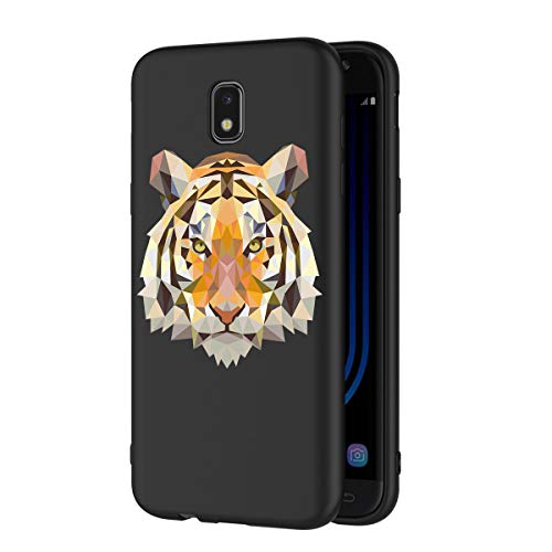 Zhuofan Plus Cover Samsung Galaxy J5 2017, Custodia Silicone Nero Soft Tpu Gel con Design Print Pattern Antigraffio Antiurto Protactive Cover per Samsung Galaxy J5 2017, Tigre