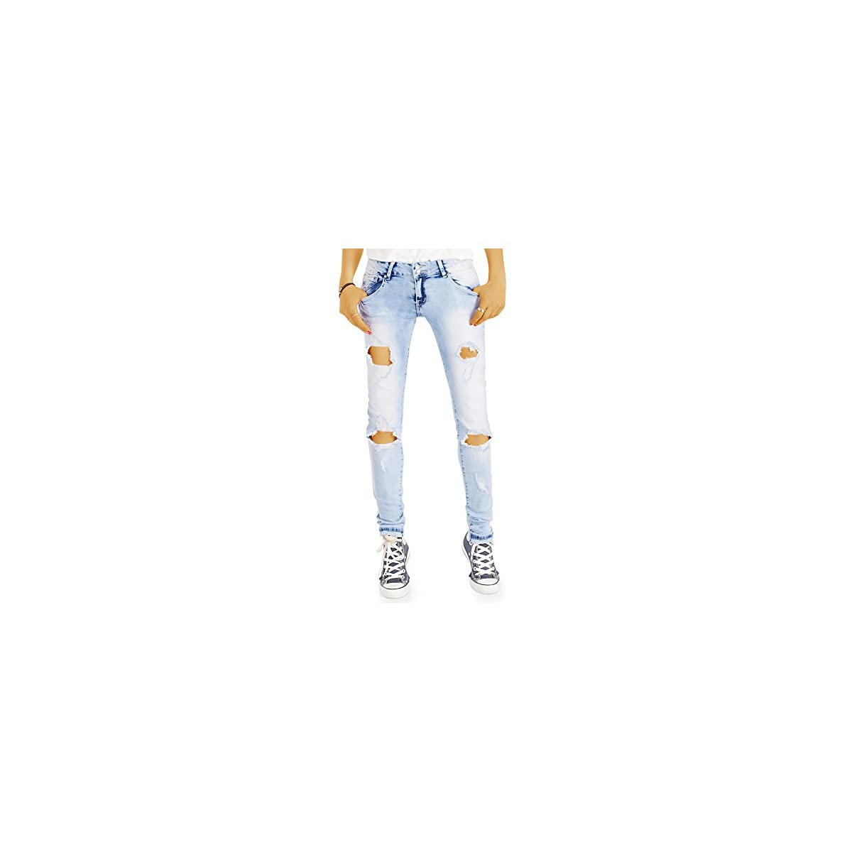 bestyledberlin Damen Slim Fit Jeans Ausgefallene Acid Wash Röhrenjeans