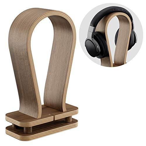 Navaris Soporte de Madera para Auriculares - Base Universal para Cascos con Holder para Cables - Estante para Headphones de Madera de Nogal Robusta
