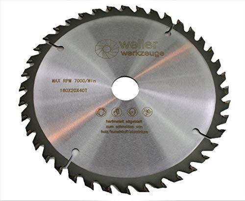 Profi HM - Hoja de sierra circular (160 x 20 mm, 40 dientes, para madera, plástico, aluminio, compatible con batería y sierra de mesa