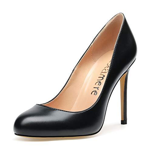 CASTAMERE Zapatos de Tacón Mujer Punta Redonda Tacón de Aguja 10 CM Tacón Negro PU Zapatos EU 37