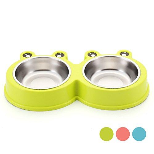 Jomia Fashion Dubbele Hond Bowls, Kikker Vorm Water en Voedsel Huisdier Feeder RVS Kunststof Met Niet Spill Huisdier Bowl Voor Honden Katten en Huisdieren-Meerdere kleuren