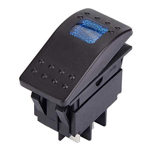 Interruptor basculante de 5 piezas DC 12V Interruptor de 4 pines IO con luz LED para batería de coche, barco y caravana(azul)