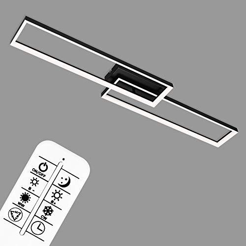 Briloner Leuchten - LED Deckenleuchte, Deckenlampe dimmbar, inkl. Fernbedienung, Farbtemperatursteuerung, Nachtlichtfunktion und Timer, Schwarz, 40 Watt, 4.400 Lumen, 1100x217x90mm (LxBxH), 3013-015