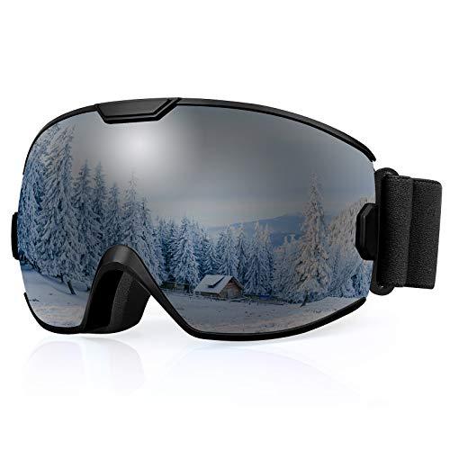 Premium Skibrille, Snowboardbrille Schneebrille OTG 100% UV-Schutz mit Rahmen Anti-Nebel, helmkompatible Ski Goggles für Damen und Herren/Jungen und Mädchen (Kinder, Schwarz VLT6%)