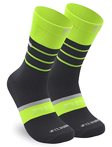 NORTEI Calcetines para Ciclismo, MTB y Running de Caña Alta para Hombre y Mujer – Scala Yellow (L-XL (43-46))