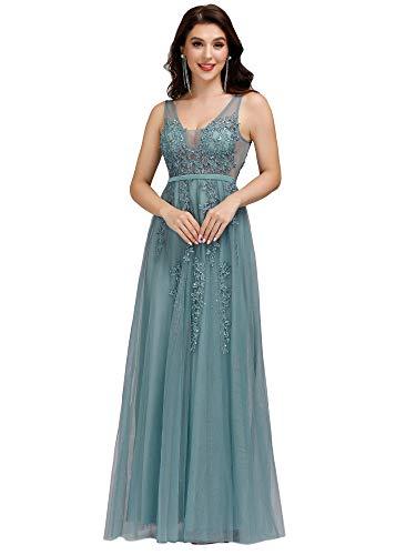 Ever-Pretty Vestito da Cerimonia Donna A Fiori Tulle Scollo a V Linea ad A Senza Maniche Lungo Blu Polveroso 38