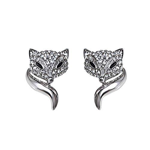 Forma Pendientes de diamantes de imitación Creative Fox Stud Pendientes Pendientes Animal 3D Moda Personalidad oído de la joyería del partido de accesorios para joyería de plata las mujeres 1Pair