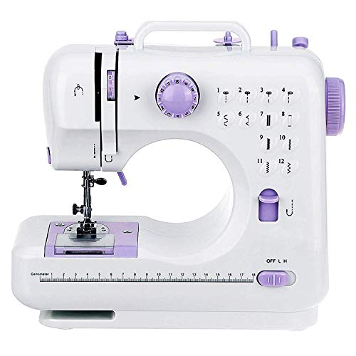 Máquina de coser portátil, 12 puntadas de 2 velocidades, máquina de coser resistente, bordado de mano overlock rápido multifunción máquina de coser, púrpura HUERDAIIT