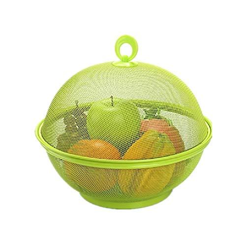 Fablcrew Fruchtkorb mit Deckel und Griff, Obstkorb Mit Insektenschutz, Obstteller Kunststoff kit Abflusskorb, 27 cm Durchmesser(Grün)