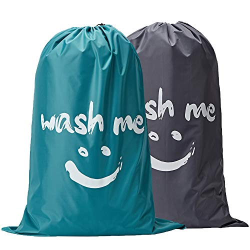 small NISHEL Wash Me Laundry Bag, 2 packs, 28 x 40 inches, hard to tear, big dirty clothes …