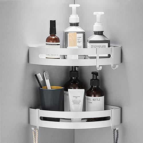 Fulsence Estantería esquinera para ducha, sin agujeros, estantería de baño, de aluminio, autoadhesiva, organizador de esquina, cesta de ducha, adhesivo, acabado mate, 2 unidades (plata)