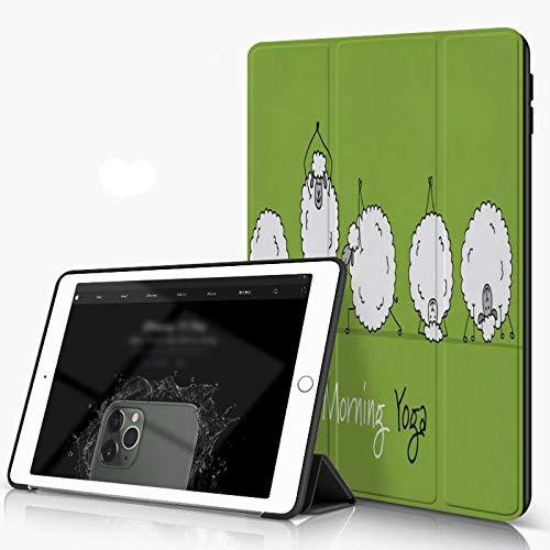 She Charm Funda para iPad 9.7 para iPad Pro 9.7 Pulgadas 2016,Ovejas Graciosas Haciendo Yoga Animales Deportes Verde,Incluye Soporte magnético y Funda para Dormir/Despertar