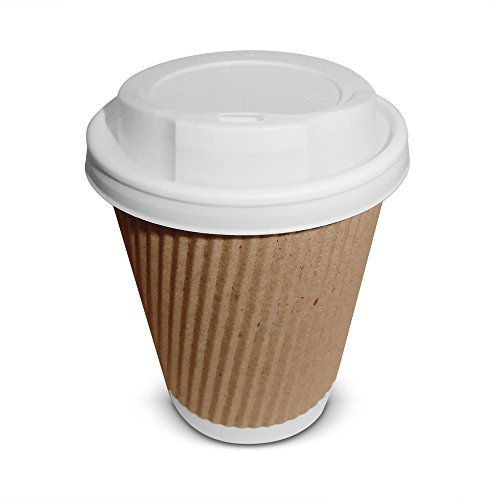 50braune Kaffeebecher aus dreiwandigem Kraftpapier, mit weißen Deckeln mit Trinköffnung und Gratis-Rührstab, 240 ml - 350ml., 8oz (50 pack)