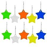 10 ciondoli catarifrangenti con anello portachiavi a forma di stella, riflettori di sicurezza per bambini, per zaini, giacche, zaini, ciclismo, passeggiate, corsa, passeggini