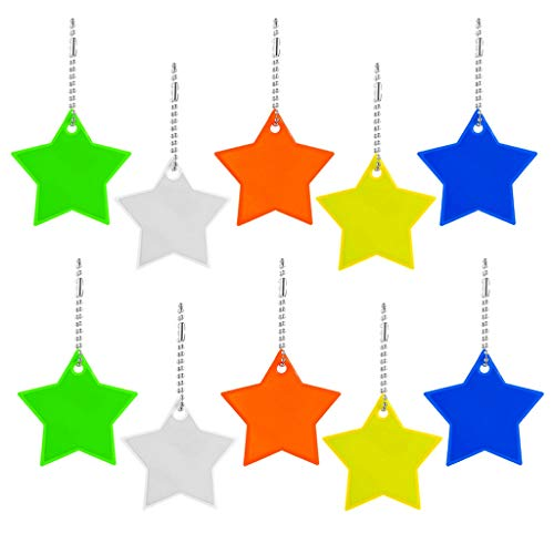 10 Reflector Pendant with Key Ring Star Reflective Pendant Safety Reflector Children's Reflector Pendant for School Bag Jacket Backpack Cycling Walking Running Pushchair