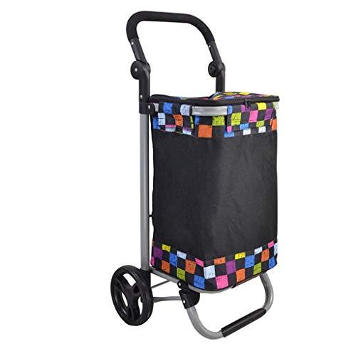 TGhosts Leichter Einkaufswagen, strapazierfähig und abklappbar für einfache Lagerung (Color : Black+a)