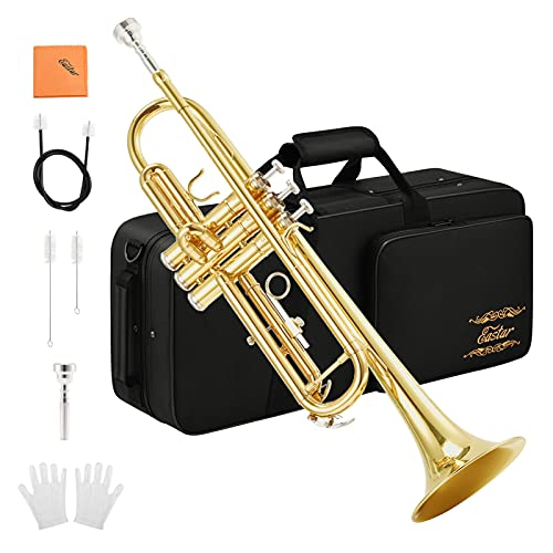 Eastar Trumpet B Flat Standard Student Bb Trumpet Musical Instrument with 7C Mouthpiece,Gloves,Cloth,Cleaning Suit,Hard Case ETR-380(Gold)