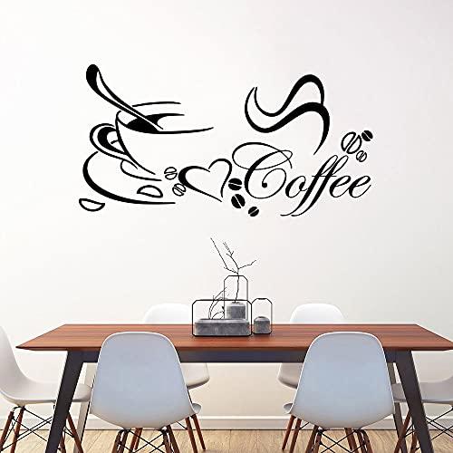 Pegatinas de pared impermeables de café de dibujos animados decoración del hogar decoración de habitación de niños calcomanía de arte de pared -87x45cm