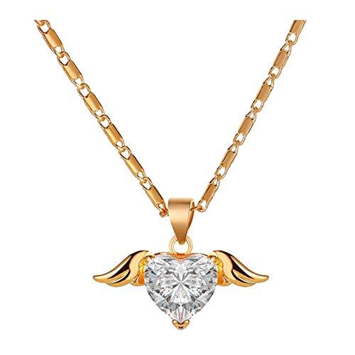 KSSPNL Mujeres Love Heart Collares Rose Gold Sliver Wing Love Angel Chain Lock Collar Día De La Madre Joyería Regalos para Mujeres Esposa Fiesta Aniversario Cumpleaños
