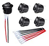 DaierTek 5pcs Circle Round Rocker Switch Wired KCD1 20mm Mini Snap Black Toggle for 12V Car Automotive 110 Volt Household 2pin ON Off SPST