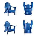 Ehomexpert Classic Outdoor Adirondack Folding Chair Set of 4 for Garden Porch Patio Deck Backyard, Weather Resistant Accent Furniture, Navy Blue