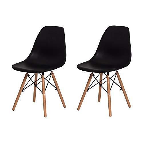 Kit 2 Cadeiras Eiffel Eames DSW Preta Base Madeira