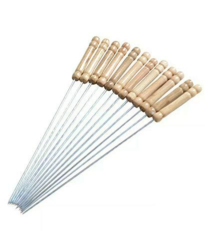 Brochetas de barbacoa - cuerdas de madera de la manija de acero inoxidable - 30 cm varilla de metal retorcido Grill & Kabab de cocina - conjunto 12
