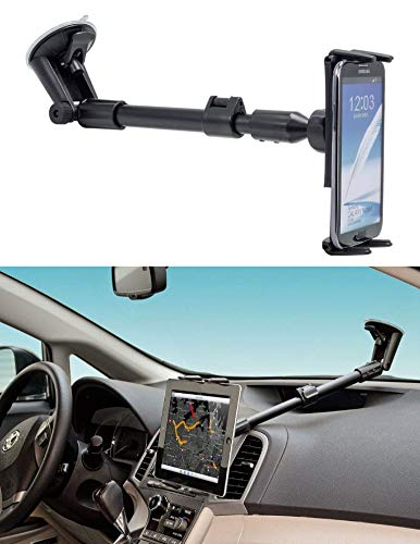 Digitl 2-in-1 Cell Phone Windshield Car Holder or Tablet Car Mount w/Robust Arm Extender Suction Cup and Swivel Cradle for Samsung Galaxy S10 S10e S9 S8 Plus,Note 10 9 8,Tab A E S3 S4 S5 S6(all 5-8')