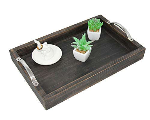 Decorative Ottoman Serving Tray – Kitchen/Coffee Table/Home/Breakfast, Wooden server Platter, Farmhouse Décor Storage Organizer W/Silver Stainless Steel Handles - Rustic Black