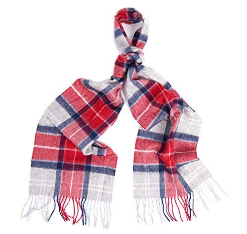 Barbour BACC0322-RE31 Merino Cashmere Tartan Scarf heren sjaal tartan rood-grijs