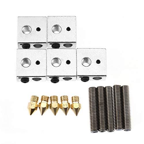 YINETTECH - Juego de 5 bloques calefactores de aluminio, 30 mm, PTFE, tubos de garganta, 0,4 mm, boquillas de latón para impresora de filamento 3D MK8