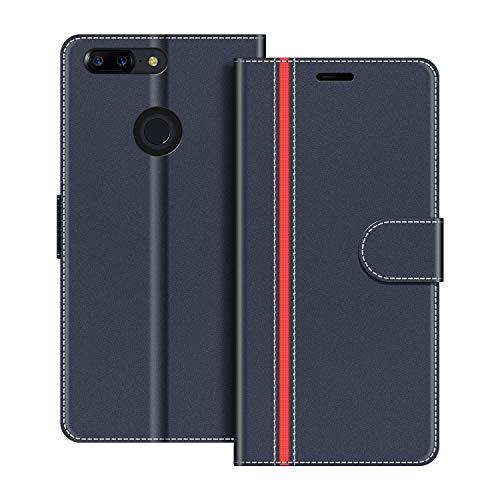 COODIO Handyhülle für OnePlus 5T Handy Hülle, OnePlus 5T Hülle Leder Handytasche für OnePlus 5T Klapphülle Tasche, Dunkel Blau/Rot