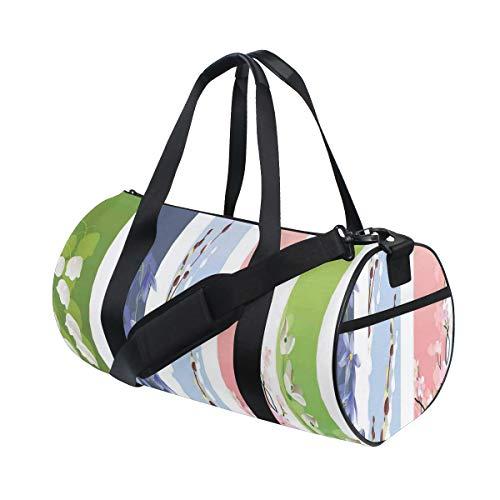 ZOMOY Sac de Sport,Imprimé coloré Lily Primrose Valley,Nouveau imprimé Bucket Sac de Gym Voyage Duffel Bagages Toile Sac à Main