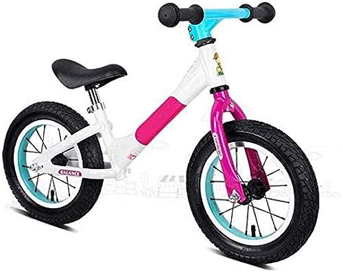 Kids Balance Bike, Leichtgewicht 12 Aluminium Balance Rennrad Mit Gummi Luftreifen Anti-Rutsch-Lenker,Fuchsie,A