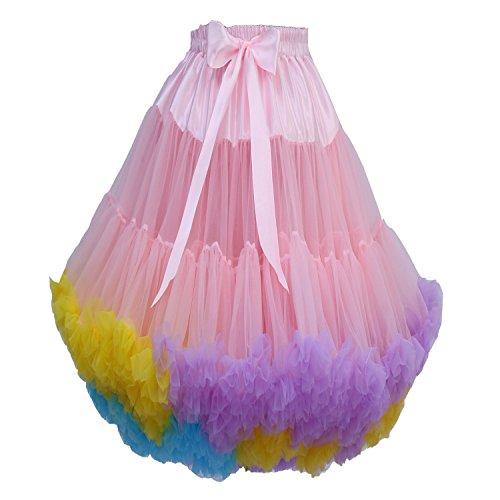 FOLOBE FOLOBE Frauen Tutu Kostüm Ballett Tanz Multi-Layer Puffy Rock Erwachsene luxuriöse weiche Petticoat
