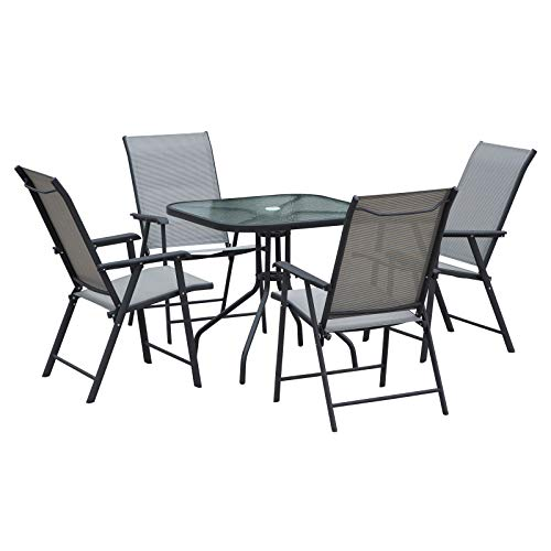 Outsunny Garden Patio 5pcs Dining Set Outdoor Furniture 4 Folding Chairs, Glass Top Table with Parasol Hole, Texteline Seats Grey