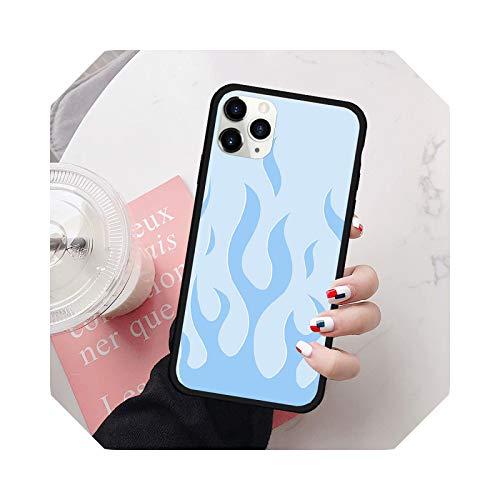 Fashion Blue Flame Fire Phone Case for iPhone XR 11 Pro 12 7 XS Max SE20 X 8 6 Plus - Carcasa de silicona mate para iPhone XS Max