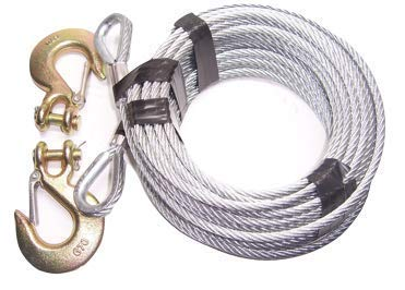 """Advantage 3/8"""", 7x19, Galvanized Steel Tow Cable, 14400 lb Breaking Strength (100 ft with 3/8"""" G70 Clevis Slip Hooks)"""