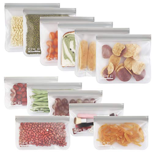 SPLF 12 Pack BPA FREE Reusable Storage Bags (6 Reusable Sandwich Bags, 6 Reusable Snack Bags), Extra...