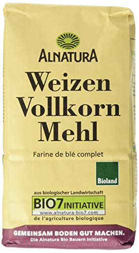 Alnatura Demeter Bio Weizenvollkornmehl, 6er Pack (6 x 1 kg)