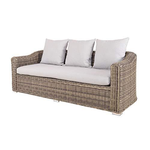 Strandgut07 3-Sitzer-Sofa aus Polyrattan mit Kissen, 90 x 201 x 75cm