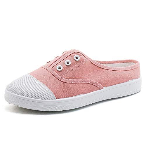 Hielloze instapslippers voor dames, klassieke espadrilles voor sport en buiten, casual canvas schoenen Kleine witte schoenen,Pink,38 EU