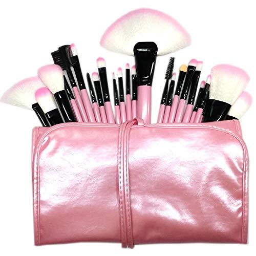 GeekerChip Brochas de Maquillaje,24 Piezas de Conjuntos de Pinceles de Maquillaje con Bolsa de Viaje,para las Cejas,Base de Maquillaje,Polvos,Crema,Set de Brochas de Maquillaje(Rosado)