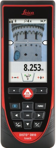 Leica DISTO D810 Touch 660ft Laser Distance Measurer w/Bluetooth and 1mm Accuracy, Red/Black by Leica