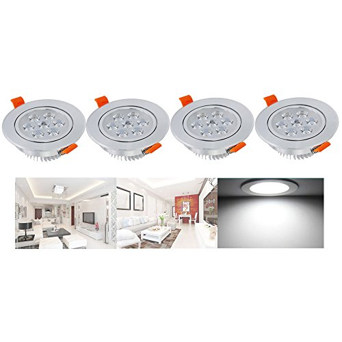 Hengda® LED Highpower Einbaustrahler Kaltweiß 7W 230V Einbauspots Badleuchten für den Wohnbereich, 4er Pack Einbauleuchten