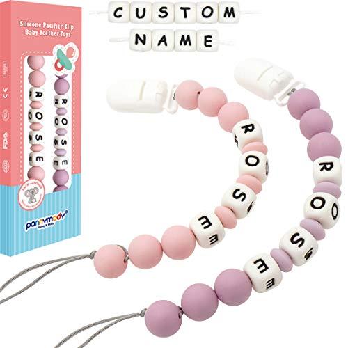 2er Pack Custom Dummy Clip Personalisierter Name Schnuller Kette Dummy Halter BPA Kostenlose Silikonperlen Binky Halter für Jungen Mädchen, Soothie, Mam, Babyparty Geschenk (Quarz Pink + Flieder Lila)