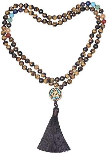 Nupuyai 108 Mala Prayer Beads Tiger s Eye Necklace for Women Men 7 Chakra Crystal Stone Long product image